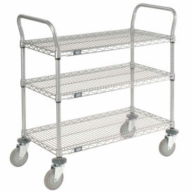 Nexelate Wire Shelf Utility Cart 36x24 3 Shelves 800 Lb. Capacity