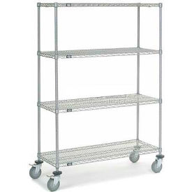 Nexel® Chrome Wire Shelf Truck 48x18x69 1200 Pound Capacity with Brakes