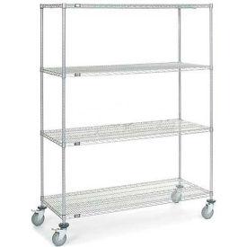 Nexel® Chrome Wire Shelf Truck 60x24x80 1200 Pound Capacity with Brakes