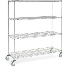 Nexel® Chrome Wire Shelf Truck 72x24x80 1200 Pound Capacity with Brakes