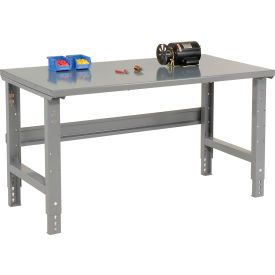 """60""""W X 36""""D Steel Square Edge Top Workbench - Adjustable Height - 1 3/4"""" Top - Gray"""