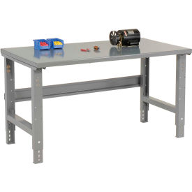 "72""W X 30""D Steel Square Edge Top Workbench - Adjustable Height - 1 3/4"" Top - Gray"
