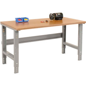 "60""W X 30""D Shop Top Square Edge Work Bench - Adjustable Height - 1-1/2"" Top - Gray"