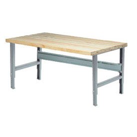 "72""W x 36""D Adjustable Height Workbench C-Channel Leg - Maple Butcher Block Square Edge - Gray"