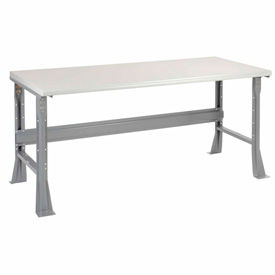 "72""W X 30""D X 34""H Plastic Laminate Safety Edge Workbench - Gray"