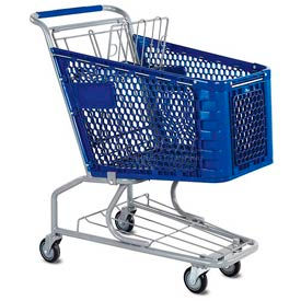 VersaCart® Blue Plastic Shopping Cart 3.5 Cu. Foot Capacity 102-085-DBL-BH