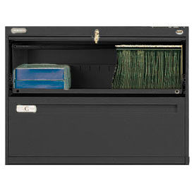"""Deluxe Retracting Front Lateral File Cabinet 36""""W X 28""""H - Black"""