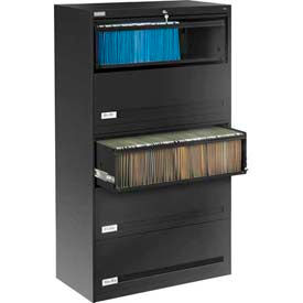 "Deluxe Retracting Front Lateral File Cabinet 36""W X 65""H - Black"