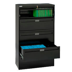 "Deluxe Fixed Front Lateral File Cabinet 36""W X 65""H - Black"