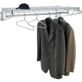 """Chrome Coat Rack with Bars - Wall Mount - 36""""W x 24""""D x 6""""H"""