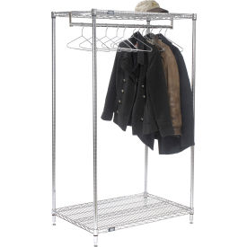 "Free Standing Clothes Rack - 2-Shelf - 36""W x 24""D x 63""H - Chrome"