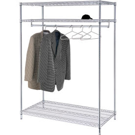 Garment Floor Rack With 18 Hangers, 3-Shelf