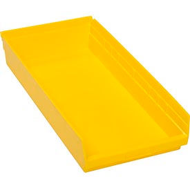 "Plastic Shelf Bin - 11-1/8""W x 23-5/8"" D x 4""H Yellow - Pkg Qty 6"