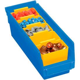 "Plastic Shelf Storage Bin - Nestable 4-1/8""W x 11-5/8""D x 4""H Blue - Pkg Qty 24"