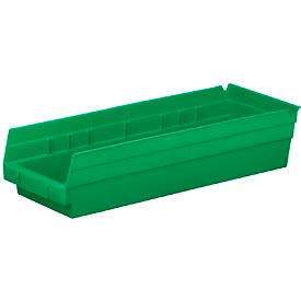 "Plastic Shelf Bin -  6-5/8""W x 17-7/8"" D x 4""H Green - Pkg Qty 12"