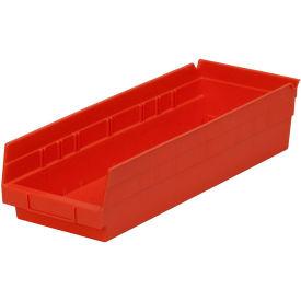 "Plastic Shelf Storage Bin - Nestable 6-5/8""W x 17-7/8"" D x 4""H Red - Pkg Qty 12"