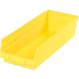 """Plastic Shelf Bin - 6-5/8""""W x 17-7/8"""" D x 4""""H Yellow - Pkg Qty 12"""
