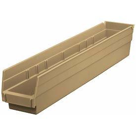 """Nesting Storage Bin - Plastic 4-1/8""""W x 23-5/8"""" D x 4""""H Beige - Pkg Qty 12"""