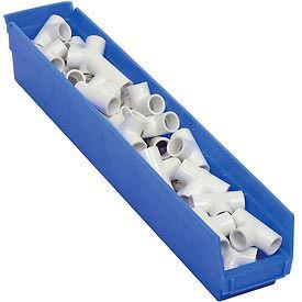 "Plastic Shelf Storage Bin - Nestable 4-1/8""W x 23-5/8"" D x 4""H Blue - Pkg Qty 12"