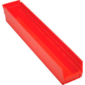 "Plastic Shelf Storage Bin - Nestable 4-1/8 x 23-5/8"" D x 4""H Red - Pkg Qty 12"
