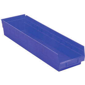"Plastic Shelf Storage Bin - Nestable 6-5/8""W x 23-5/8"" D x 4""H Blue - Pkg Qty 6"