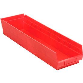 "Plastic Shelf Storage Bin - Nestable 6-5/8""W x 23-5/8"" D x 4""H Red - Pkg Qty 6"