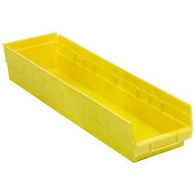"""Plastic Shelf Bin - 6-5/8""""W x 23-5/8"""" D x 4""""H Yellow - Pkg Qty 6"""