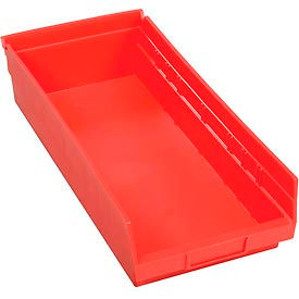 "Plastic Shelf Storage Bin - Nestable 8-3/8""W x 17-7/8"" D x 4""H Red - Pkg Qty 12"