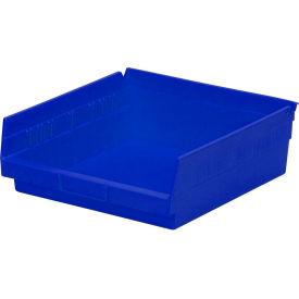 "Plastic Shelf Storage Bin - Nestable 11-1/8""W x 11-5/8"" D x 4""H Blue - Pkg Qty 12"