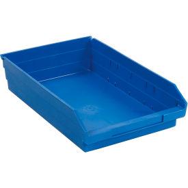 "Plastic Shelf Storage Bin - Nestable 11-1/8""W x 17-7/8"" D x 4""H Blue - Pkg Qty 12"