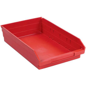 "Plastic Shelf Storage Bin - Nestable 11-1/8""W x 17-7/8"" D x 4""H Red - Pkg Qty 12"
