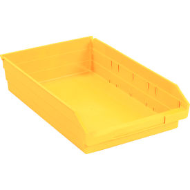 "Plastic Shelf Bin - 11-1/8""W x 17-7/8"" D x 4""H Yellow - Pkg Qty 12"