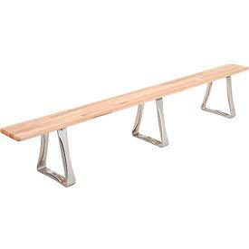 "Locker Bench Hardwood Top w/Steel Trapezoid Pedestals, Bolt Down Style, 120""W x 9-1/2""D x 17""H"