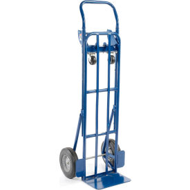 Steel 2-in-1 Convertible Hand Truck with Semi-Pneumatic Wheels 600 Lb. Capacity