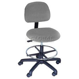 Task Stool - Fabric - Low Back - Pneumatic - Gray