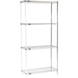 "74""H Nexel Chrome Wire Shelving Add-On - 42""W X 14""D"