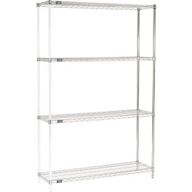 "86""H Nexel Chrome Wire Shelving Add-On - 54""W X 14""D"
