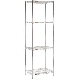 "86""H Nexel Chrome Wire Shelving - 24""W X 18""D"