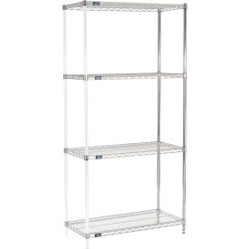 "86""H Nexel Chrome Wire Shelving Add-On - 42""W X 18""D"