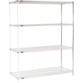 "74""H Nexel Chrome Wire Shelving Add-On - 60""W X 24""D"