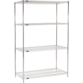 "86""H Nexel Chrome Wire Shelving - 48""W X 24""D"