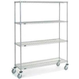 Nexel® Chrome Wire Shelf Truck 60x18x80 1200 Pound Capacity with Brakes