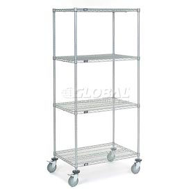 Nexel® Chrome Wire Shelf Truck 36x24x80 1200 Pound Capacity with Brakes