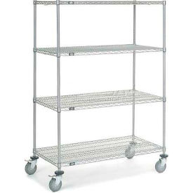 Nexel® Chrome Wire Shelf Truck 48x24x69 1200 Pound Capacity with Brakes