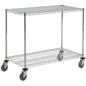 Nexel® Adjustable Chrome Wire Shelf Cart 48x18 2 Shelves 800 Lb. Capacity
