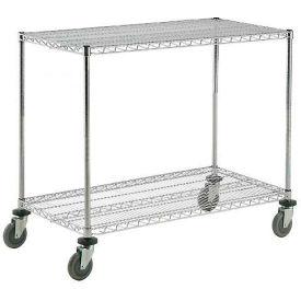 Nexel® Adjustable Chrome Wire Shelf Cart 36x24 2 Shelves 800 Lb. Capacity