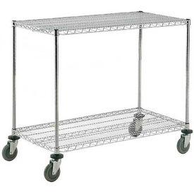Nexel® Adjustable Chrome Wire Shelf Cart 72x24 2 Shelves 800 Lb. Capacity