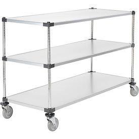 Nexel® Adjustable Solid Galvanized Shelf Cart 60x24 3 Shelves 800 Lb. Cap