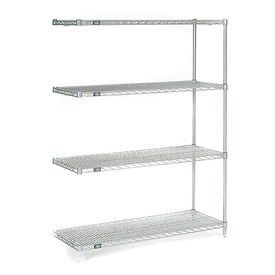 """Nexel Stainless Steel Wire Shelving Add-On 48""""W X 18""""D X 63""""H"""
