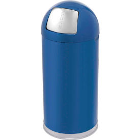 Rubbermaid® R1530EGL 12 Gallon Round Dome Top Waste Receptacle with Galvanized Liner - Blue